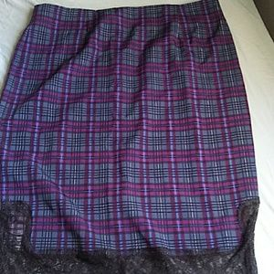 Plaid lace skirt